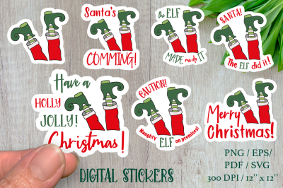 Funny Stickers ELF with sign. 7 different stickers designs.