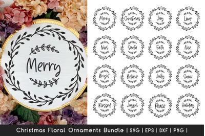 Christmas Ornaments SVG Bundle - Floral Frame SVG