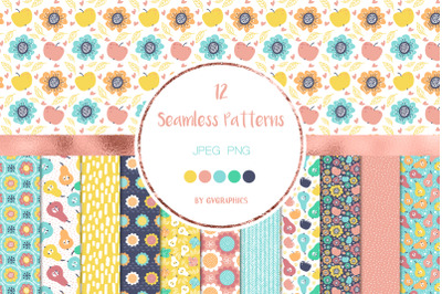 12 Bright Flowers and Fruits Seamless Patterns