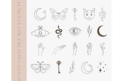 Black Logo Elements Illustrations. Esoteric mystic symbols. Tattoo.