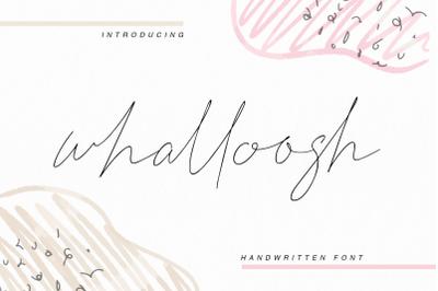 whalloosh - handwritten font