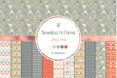 12 Abstract Triangles Seamless Patterns