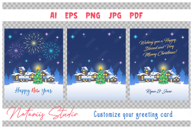 Festive fireworks in the night sky. Custom greeting card.