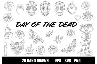 Day of the Dead Coloring Page, Dia de los Muertos Clipart