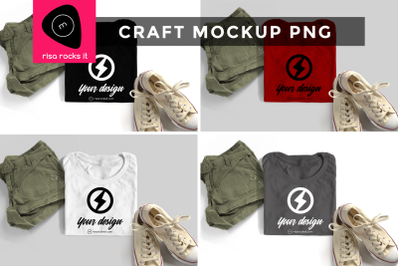 Folded Tee with Shorts and Sneakers   PNG Mock Up