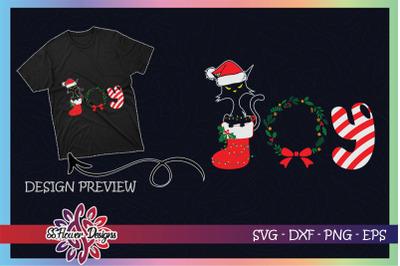 Funny Black Cat Merry Christmas Joy