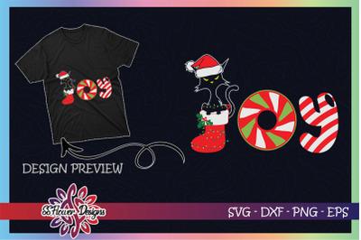 Black Cat Merry Christmas Joy Candy