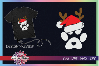 Paws Print Santa Hat Dog Paws Reindeer