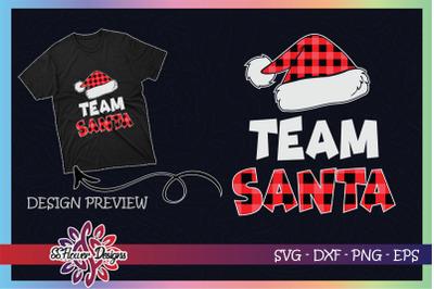 Team Santa Red Plaid Claus Hat