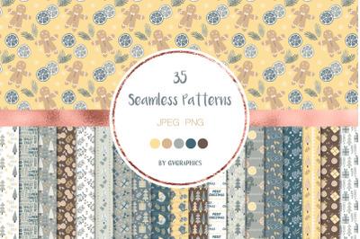 35 Merry Christmas Seamless Patterns