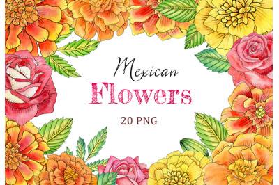 Watercolor mexican flowers clipart. El Da de Muertos floral clipart