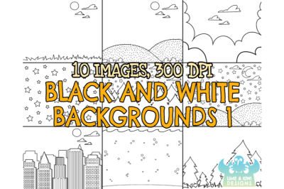 Black and White Scene Backgrounds 1 Clipart - Lime and Kiwi Designs