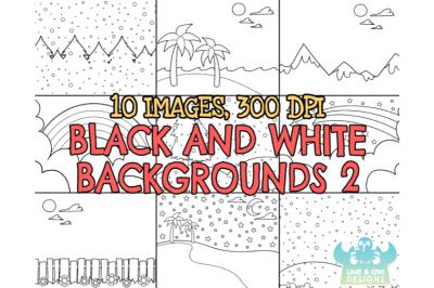 Black and White Scene Backgrounds 2 Clipart - Lime and Kiwi Designs
