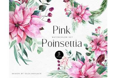 Watercolor Pink poinsettia and eucalyptus clipart Pink Christmas deco