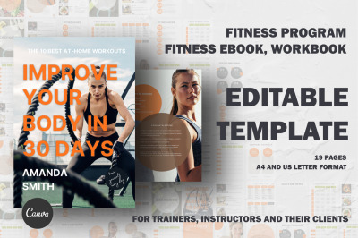 Fitness eBook template / Fitness planner / Canva fitness instructor te