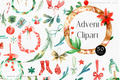 Watercolor christmas advent calender diy elements, watercolor winter