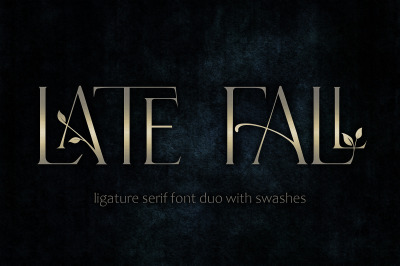 Late Fall - floral serif ligature font duo