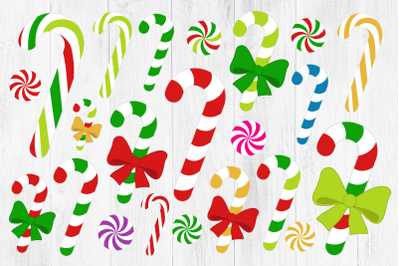 Candy Cane Clipart, Peppermint, Christmas, PNG