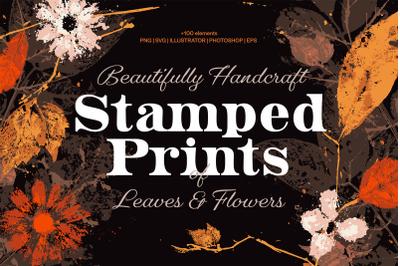Stamped Prints of Leaves & Flowers