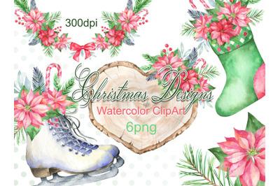 Watercolor Christmas clipart  winter frame   bouquet wreath design ska