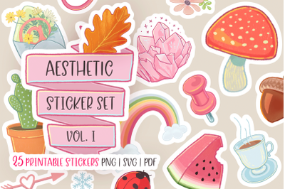 Aesthetic Stickers Bundle Hand Drawn Printables