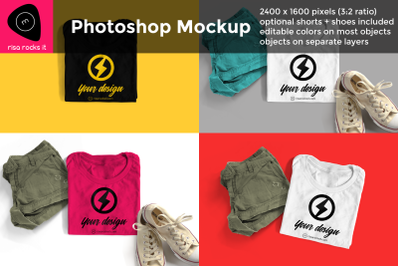 Tee with Shorts and Sneakers | Photoshop Mock Up