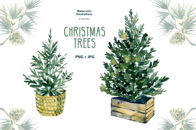 Watercolor Christmas trees clipart