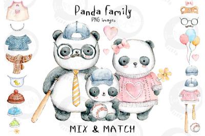 Panda Family | Mix & Match | PNG Watercolour Illustrations