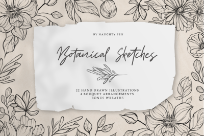 Botanical Sketches - Hand Drawn Floral Line Art Illustration
