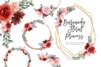 Watercolor flower frame clipart, Wedding Burgundy floral clipart
