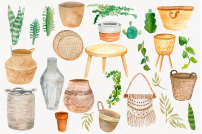 Boho clipart, Home decor, house plant clipart