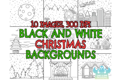 Black and White Christmas Backgrounds Clipart - Lime and Kiwi Designs
