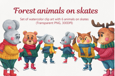 Forest animals on skates. Christmas watercolor clip art with character