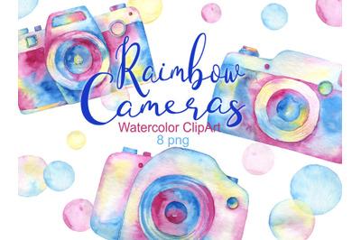 Watercolor rainbow cameras photographer clip art photography multicolo