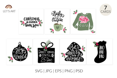 Cute Christmas clipart. Christmas quotes svg. Christmas phrases svg, H