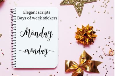 Script Stickers, Names of week scripts