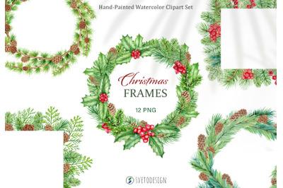 Christmas Frames watercolor clipart. Xmas wreath clip art.