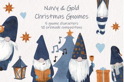 Navy & Gold Christmas Gnomes. Scandinavian gnomes clipart