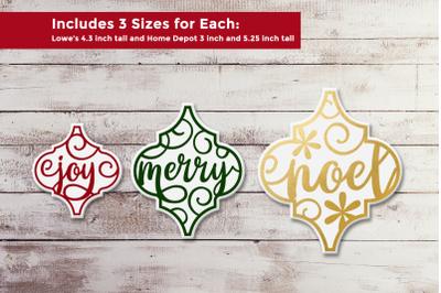 Arabesque Tile Christmas Words Ornament Trio   SVG   PNG   DXF   EPS