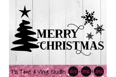 Merry Christmas Svg, Christmas Tree, Snowflakes, Winter, Fancy Merry C