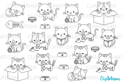 Kittens Clipart Cute Kitty Cats Kitties Pets Graphics Digital Stamps PNG JPEG SVG