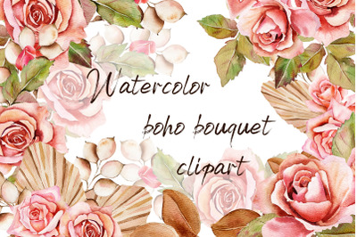 Watercolor bouquet pink roses