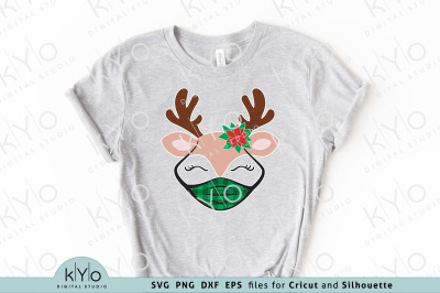 Christmas Reindeer with Mask and Poinsettia Svg