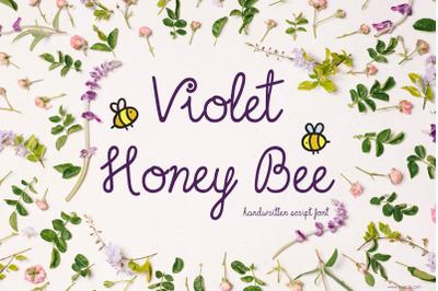 Violet Honey Bee Font | Script Hand Lettering | Multilingual, Ligature