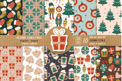 Christmas seamless patterns, digital paper. Scandi design.