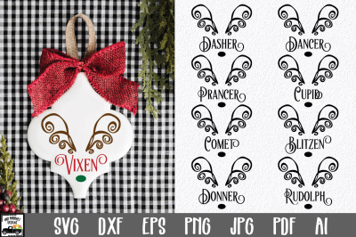 Reindeer Names Bundle - 9 Christmas SVG Files