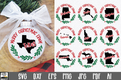 Christmas Ornament SVG - 50 States Christmas SVG Files