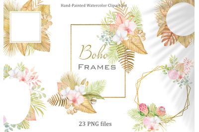 Watercolor boho tropical frames clipart. Floral arrangements PNG