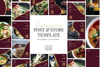 Restaurant Instagram Instagram Post and Story Template