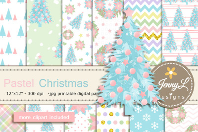 Pastel Christmas Digital Paper and Clipart